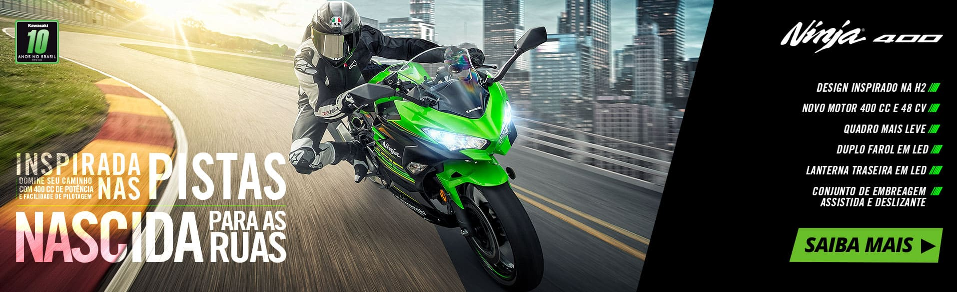 Ninja 400 – Inspirada nas pistas nascida para as ruas